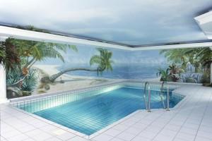 Tor zum Paradies – Trompe-l'œil fürs Schwimmbad