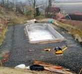 Schwimmbad Grundfläche ist bereit