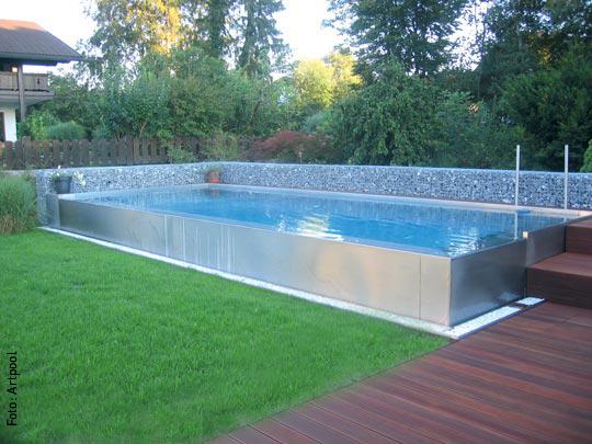 135 pool eckig stahl schwimmbecken holz in superaktion ForStahl Pool Eckig